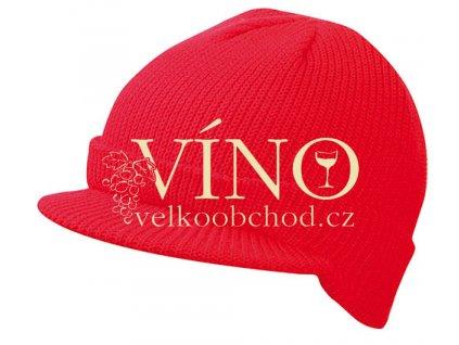 KNITTED CAP WITH PEAK MB7530 zimní čepice s kšiltem, červená