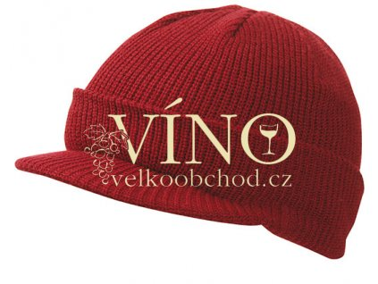 KNITTED CAP WITH PEAK MB7530 zimní čepice s kšiltem, burgundy hnědá