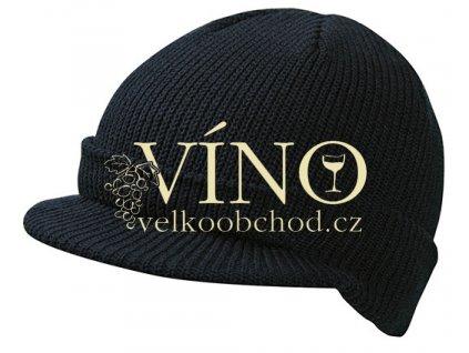 KNITTED CAP WITH PEAK MB7530 zimní čepice s kšiltem, černá