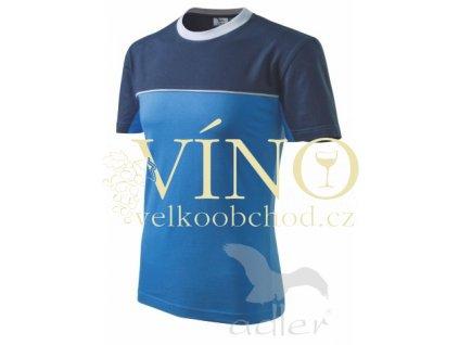Adler 109 Colormix 200, pánské triko s krátkým rukávem, azurově modrá/námořní modrá