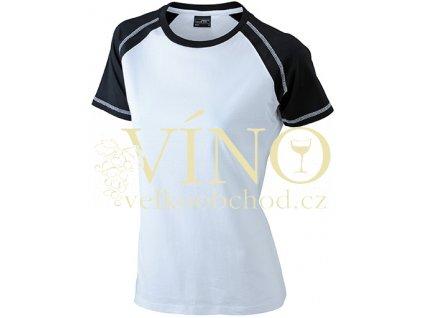 James & Nicholson JN011 Ladie's Raglan-T, dámské triko s krátkým rukávem, bílá/černá