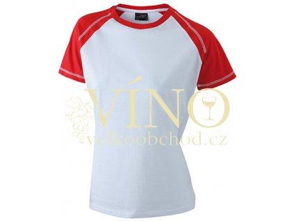 James & Nicholson JN011 Ladie's Raglan-T, dámské triko s krátkým rukávem, bílá/červená