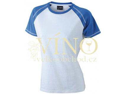 James & Nicholson JN011 Ladie's Raglan-T, dámské triko s krátkým rukávem, bílá/královská modrá