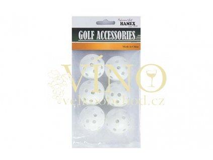 HOLLOW PRACTICE BALLS, míčky tréninkové 6 ks bílé