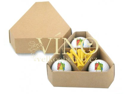 TRIANGLE - kartonová krabička na 3 golfové míče a týčka.