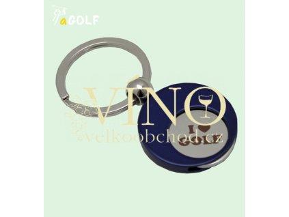 """kolekce """"I LOVE GOLF"""" přívěsek na klíče modrý se žetonem do košíku"""