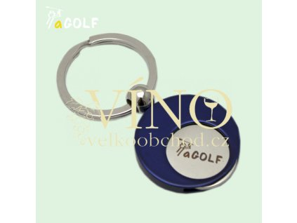 aGOLF přívěsek na klíče modrý se žetonem do košíku