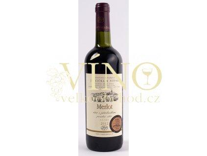 Rodinné vinařství Jedlička Bořetice Merlot 2012 pozdní sběr 0,75 L suché moravské červené víno