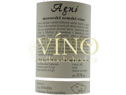 Bíza Agni 2017 moravské zemské 0,75 l suché moravské červené víno