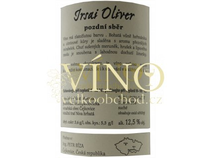 Bíza Irsai Oliver 0,75 l suché moravské zemské bílé víno
