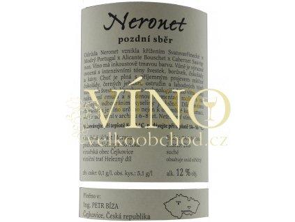 Bíza Neronet 2018 pozdní sběr 0,75 l suché moravské červené víno