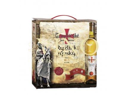 Víno Templářské sklepy Ryzlink rýnský Bag in box 3 l bílé víno BIB