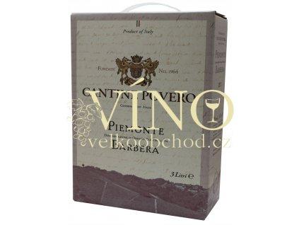 Víno Cantine Povero Piemonte Barbera 2017 BIB 3 l červené italské suché bag in box