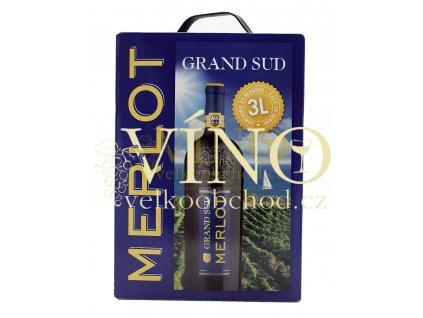Grand Sud Merlot BIB 3 l suché francouzské červené víno bag in box