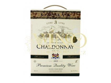 Víno Kazayak Vin Chardonnay 3 l BIB polosladké moldavské bílé bag in box