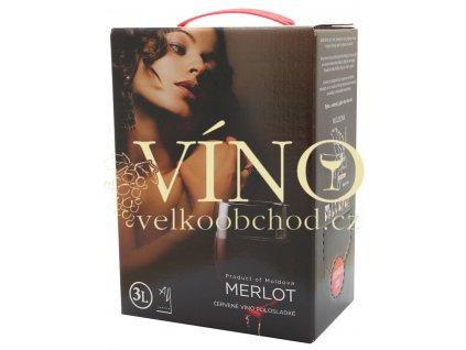Akce ihned Víno Merlot 3 l BIB polosladké moldavské červené bag in box Aurvin DK-Intertrade