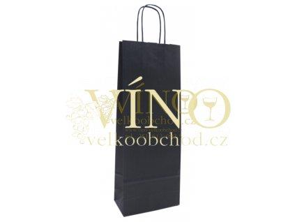 Akce ihned Dárková papírová taška 14x8,5x39 cm na víno láhev 0,75 l sulfát modrý