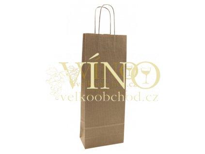 Akce ihned Papírová taška 14x9x39 cm na víno láhev 0,75l sulfát přírodní