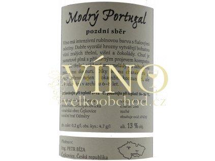 Bíza Modrý Portugal 2017 pozdní sběr 0,75 l suché moravské červené víno