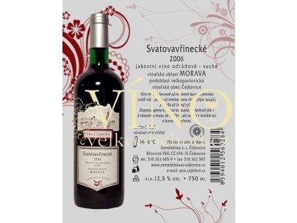 Zemědělská a.s. Čejkovice Svatovavřinecké jakostní 0,75 L moravské červené víno