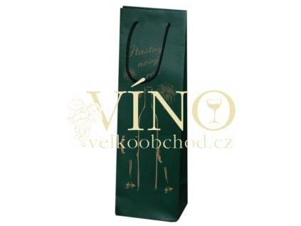 Vánoční papírová taška 12x9x37 cm na víno zelená - PF