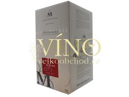 Akce ihned Marrenon Bag-in-Box 10 l Merlot VdP červené francouzské víno