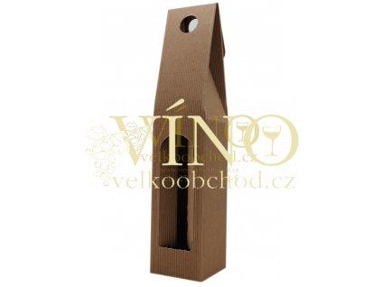 AKCE IHNED - Kartonová krabička 8x8x40 cm na víno 1 láhev 0,75L přírodní vlnitá lepená - DOPRODEJ za akční cenu