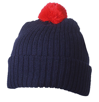 KNITTED CAP WITH POMPON MB7540 zimní čepice s kulichem, námořní modrá/červená