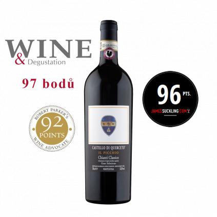 Il Picchio 2015 medals x Gran Selezione Chianti Classico Castello di Querceto Wine of Italy Michal Procházka Vinotéka Klánovice