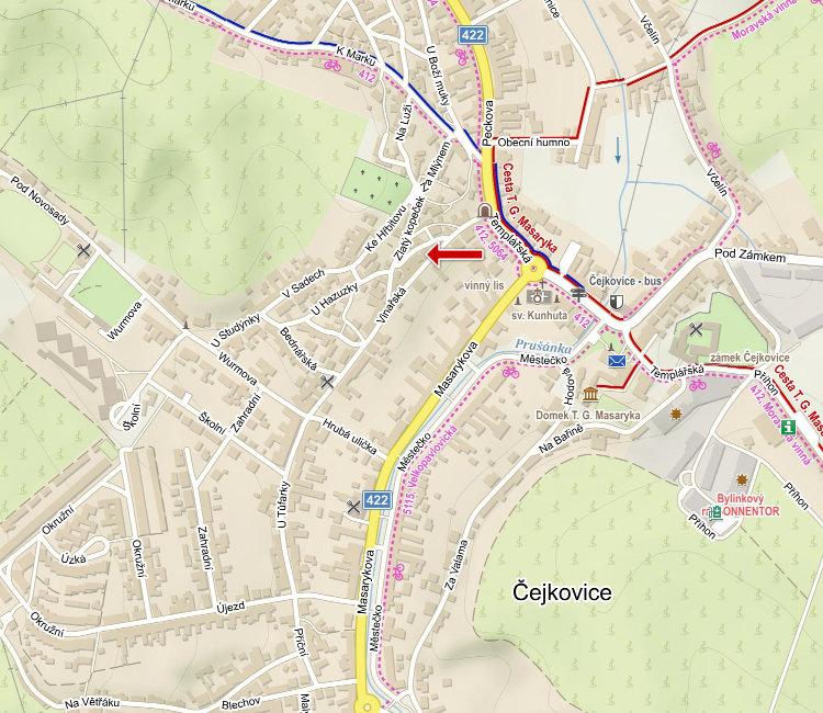 mapa obce, vyznaceny sklep
