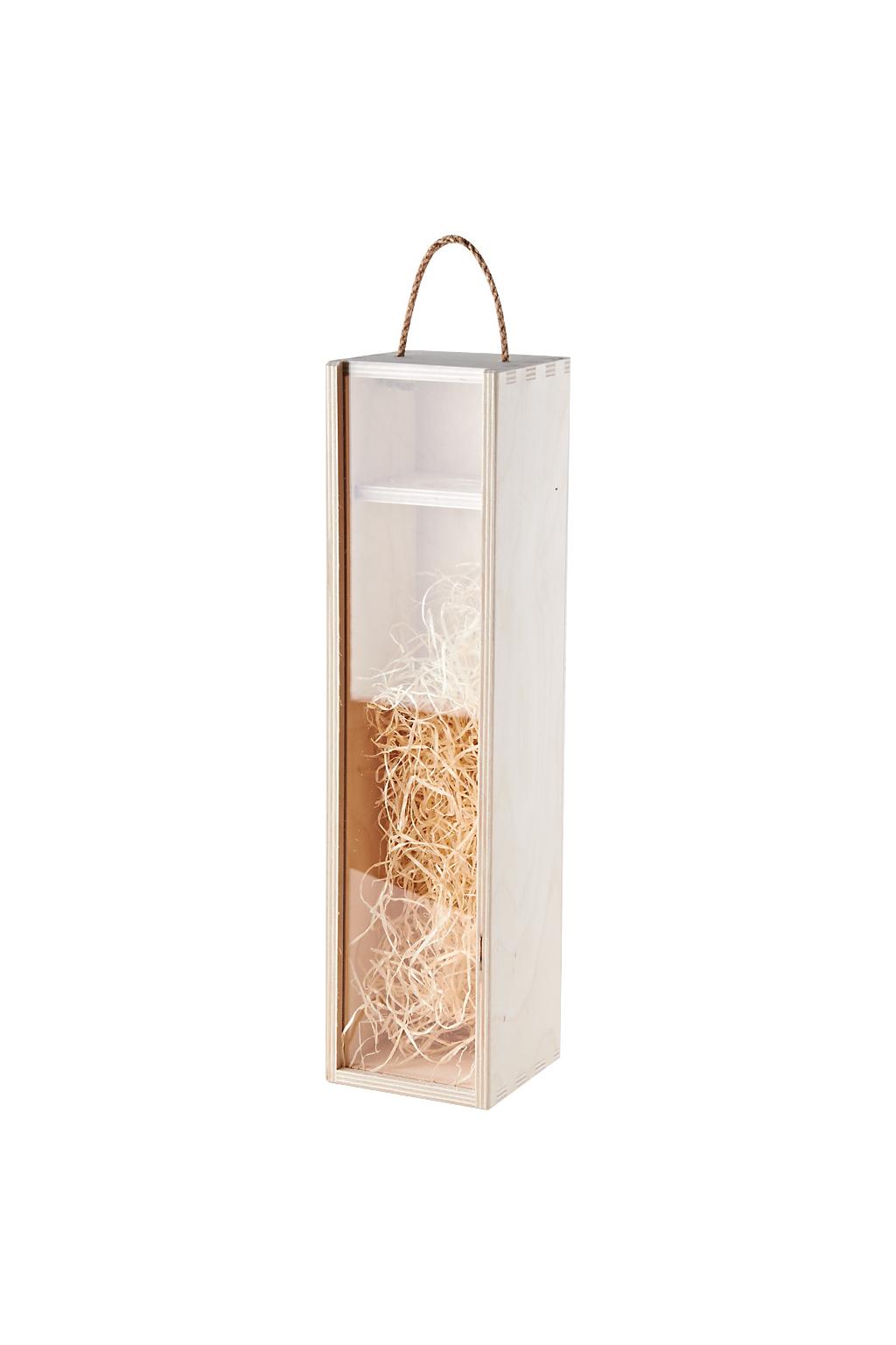 Krabička na 1 láhev dřevěná s víkem a vystýlkou