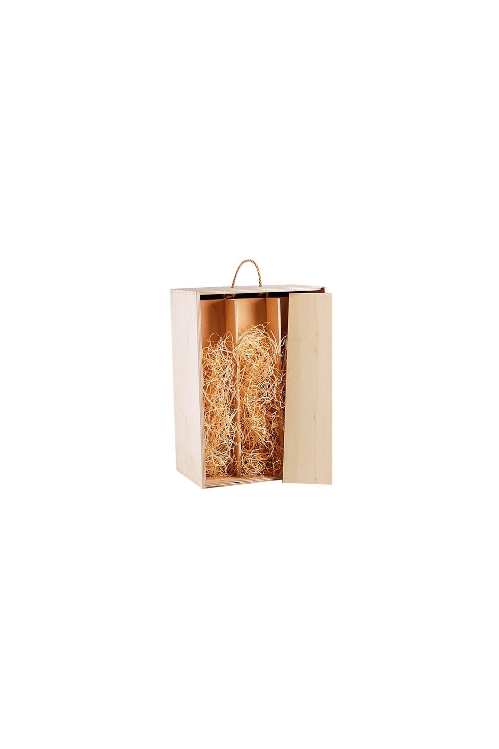 Krabice na 6 láhví dřevěná s víkem a vystýlkou