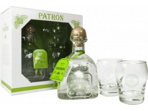 Patrón Silver 100% Agave Tequila (0,7l) v dárkové krabičce se dvěma skleničkami