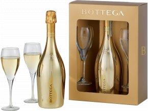 Bottega Gold Glera Spumante Brut (0,75l) se skleničkami v dárkové krabičce