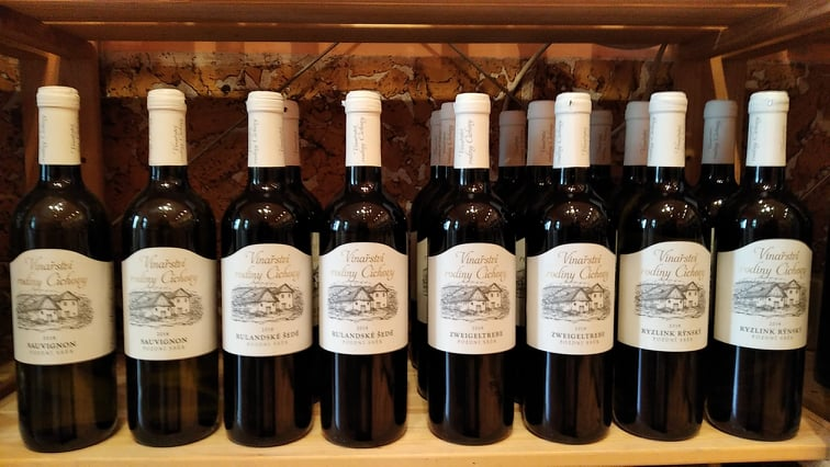vína rodiny Cíchovy ve Vinotéce ve dvoře