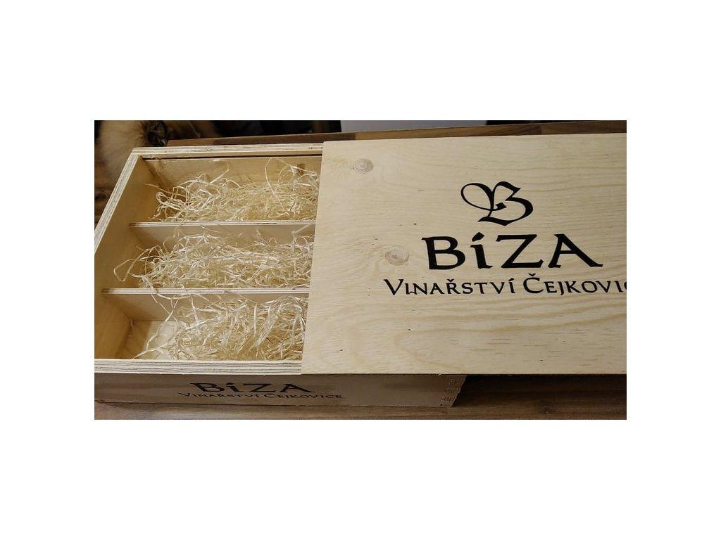 dřevěný box bíza 3 lahve