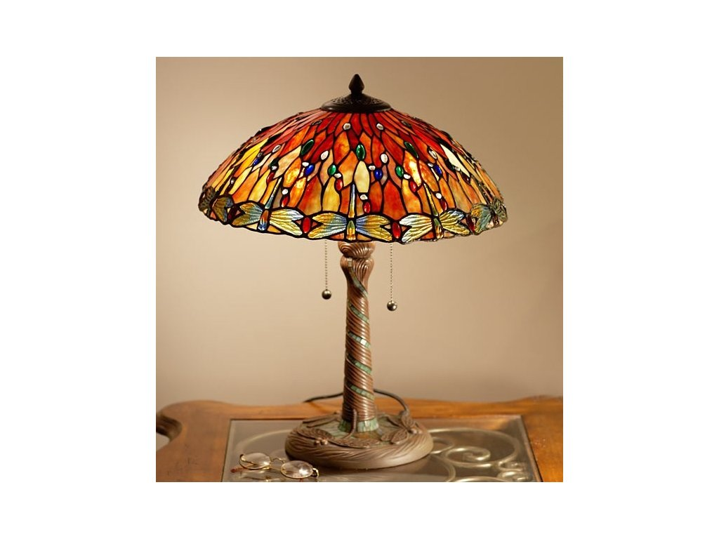 Stolní lampa Tiffany DRAGONFLY - Ø 45*56 cm 2x E27 / Max 60W