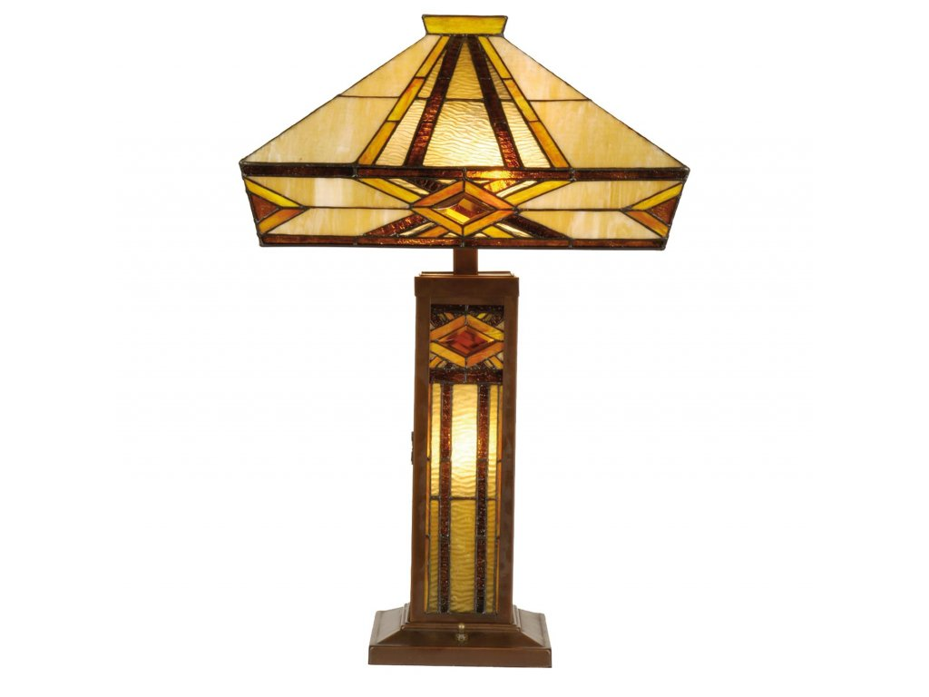 Stolní lampa  Tiffany  - 42*42*71 cm E27/max 2*60W E14/max 1*15W
