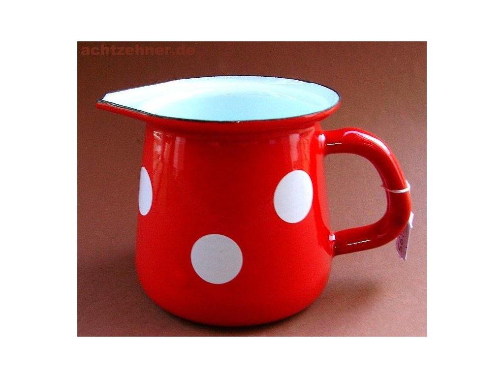 Smaltovaný džbánek na mléko s dekorem puntíku / mlékovka - 0,4 l