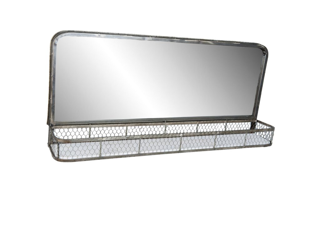 Zrcadlo s poličkou v retro stylu -91*16*42 cm