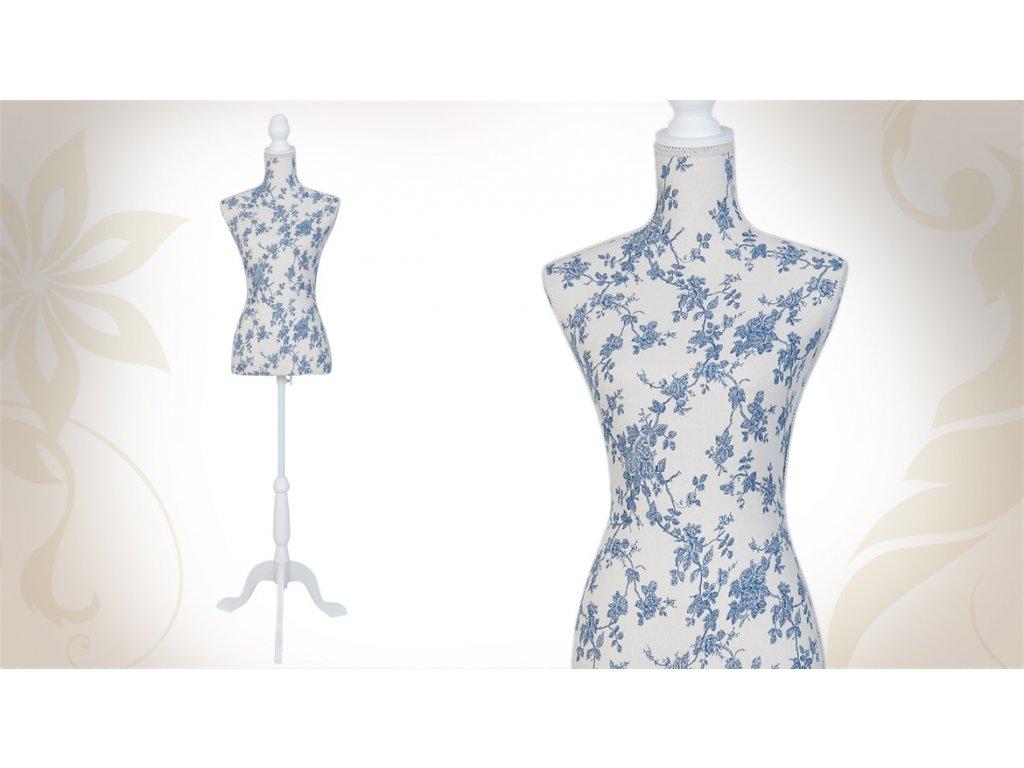 17869 mannequin buste mannequin de couture decoratif motifs fleurs bleues