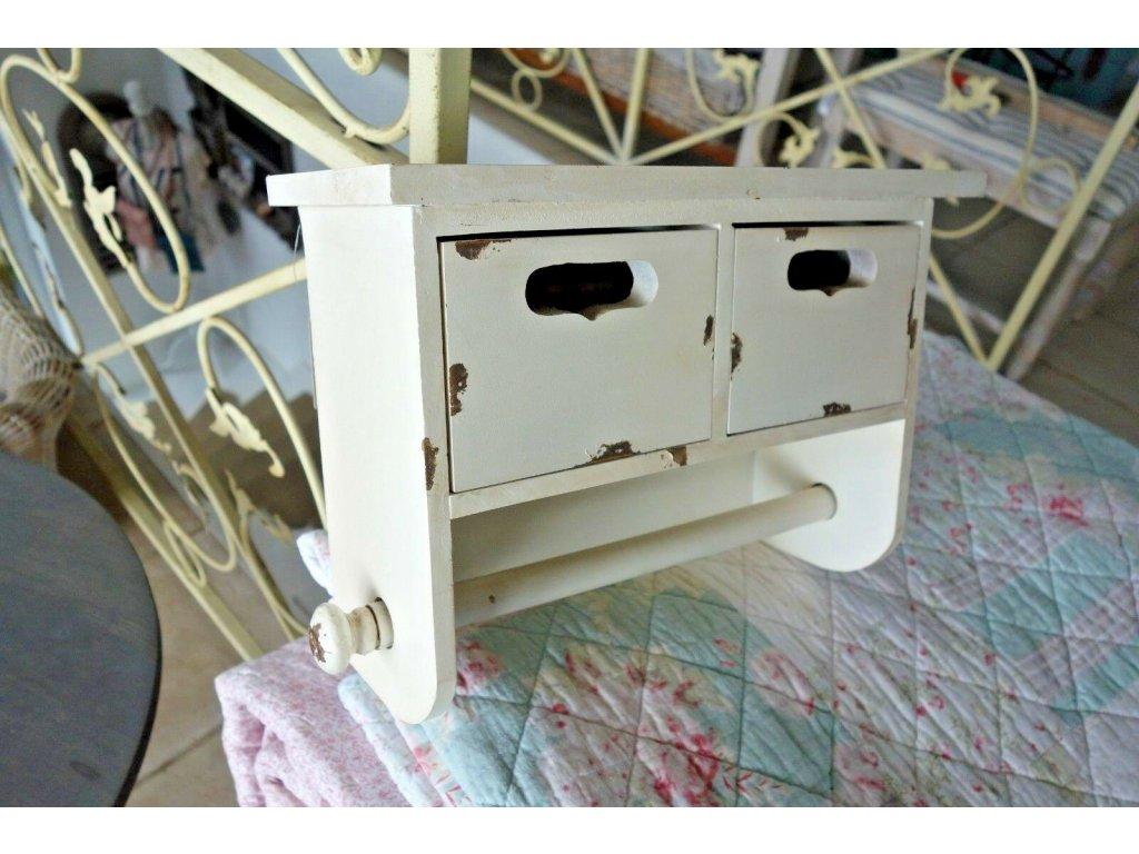 Shabby Küchenrollenhalter Regal zwei Schubladen 22 x31 x13cm