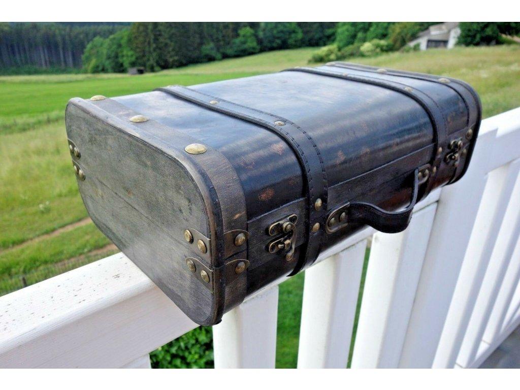 Nostalgie Koffer Kiste Holz Leder Eisenbeschlage 13x37x24cm Schwarz 57 (1)