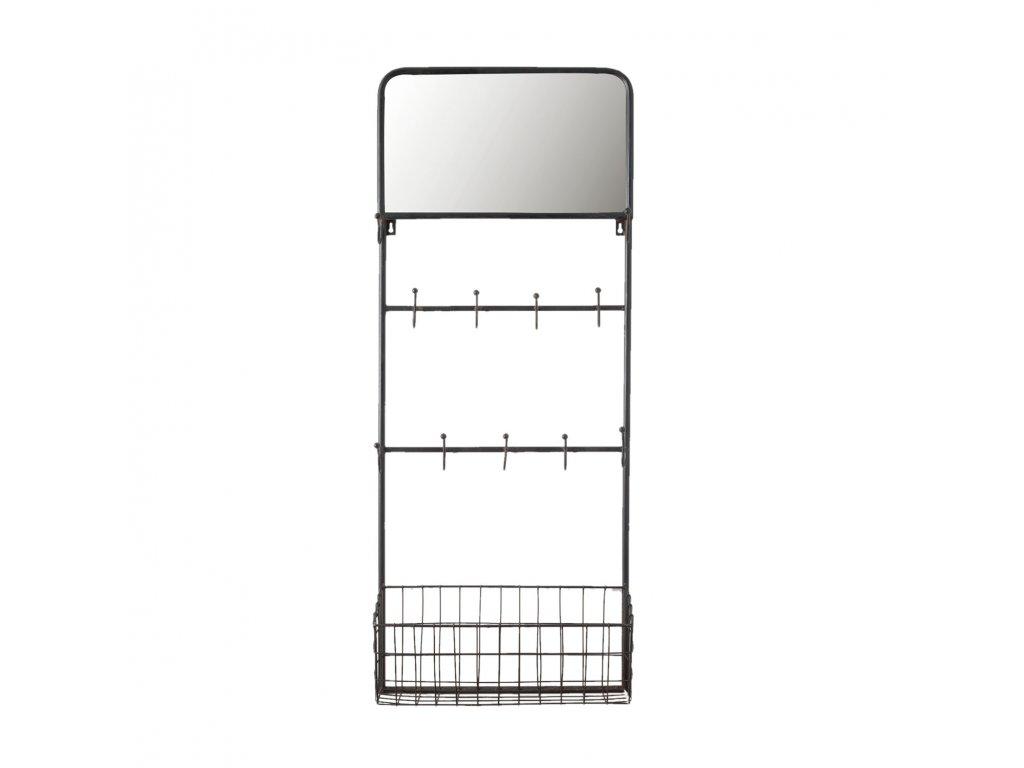 Nástěnný regál s drátěným košíčkem a háčky- 44*15*112 cm