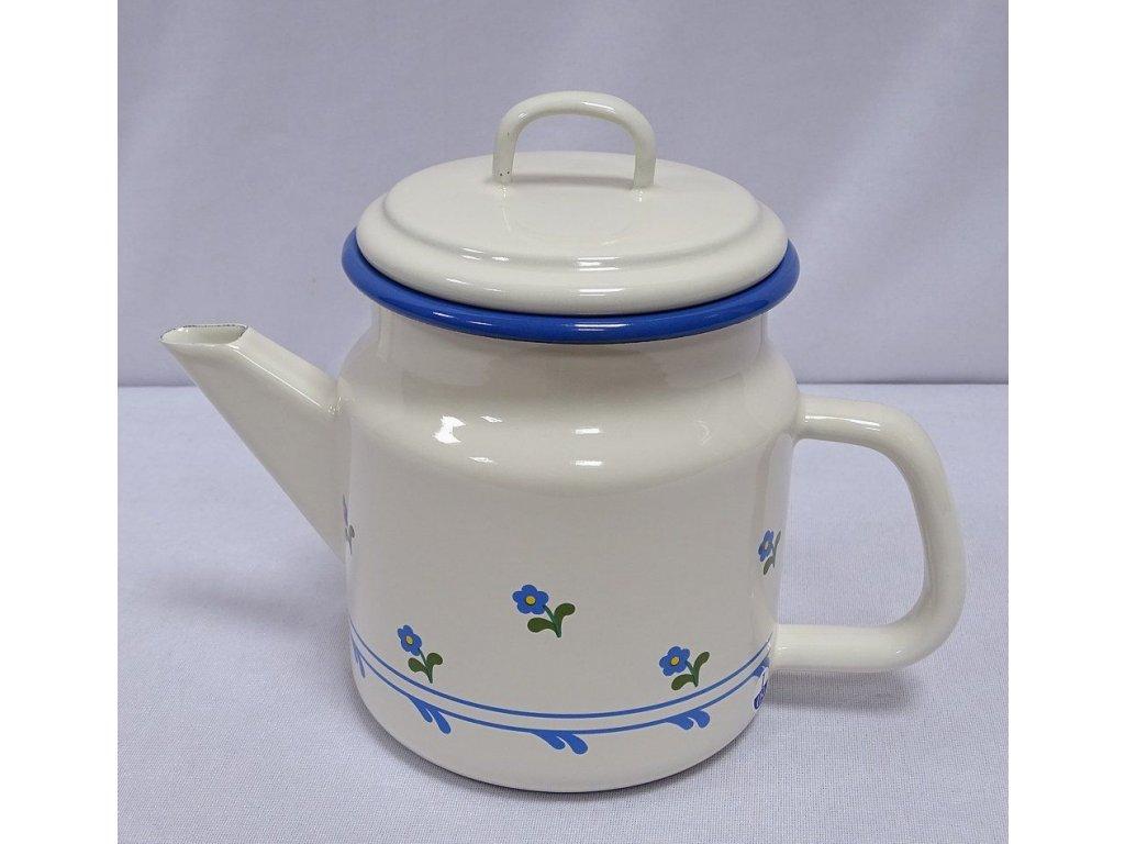 G1730 Emaille Teekanne Deckelkanne Teepott Creme Blümchen 10