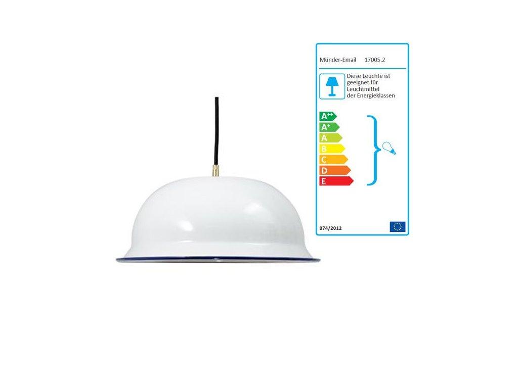 Muender Email Lampe Wei Blau 36 cm .962384a