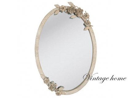 Zrcadlo oválné s dekorem a patinou-35*3*51 cm