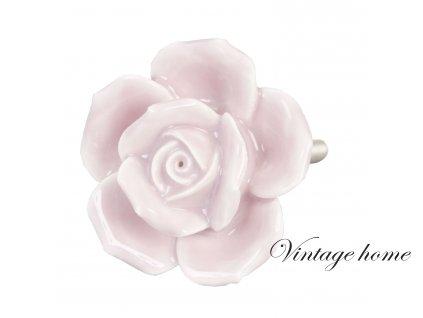 Keramická úchytka - růžová - pr 4,5 cm
