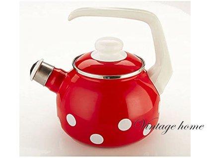 Smaltovaná konvice na čaj s píšťalkou - 1,7 l