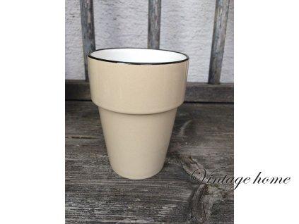 Clayre Eef Becher Keramik Emaille grau Kaffeetasse